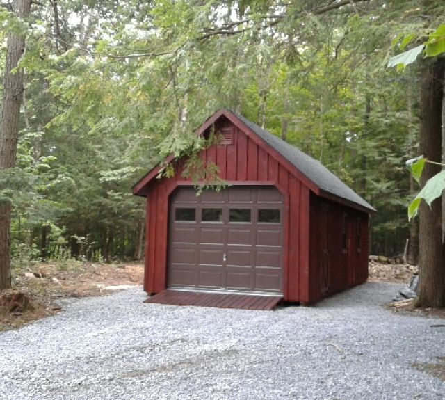 12x30 pine b&b garage with steep roof built on site
