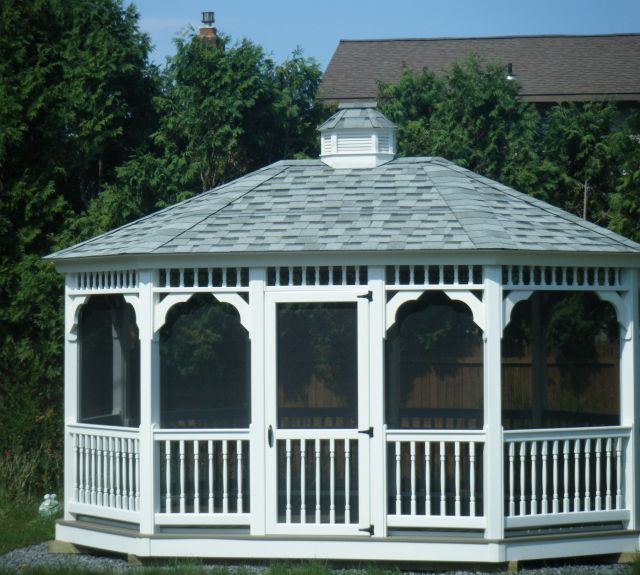 12x16 oval with screens, gray decking, fox hollow roof