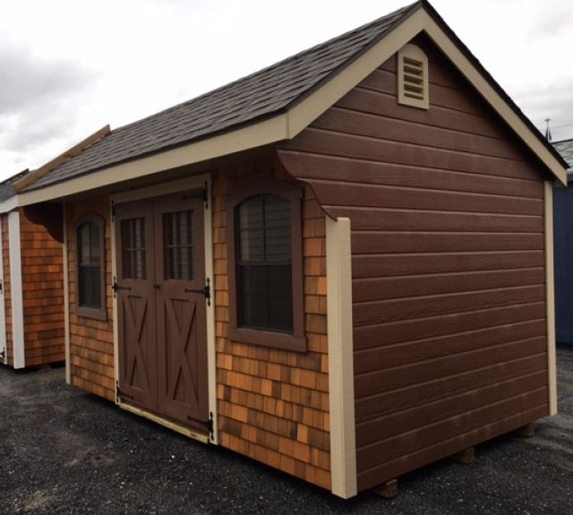 8x14 new england quaker, cedar shake front, dutch lap siding